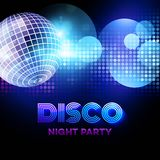 Disco background with discoball. Vector Royalty Free Stock Images
