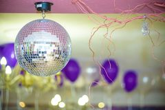 Disco Background with Shiny Retro Disco Ball. Great Background for Disco Party or Small Karaoke Event. Blue Theme Royalty Free Stock Images