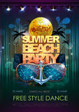 Disco background. Summer beach Disco party poster Royalty Free Stock Images