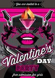 Disco background for Valentine party poster Royalty Free Stock Photography