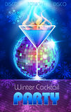 Disco background. Winter Cocktail poster Royalty Free Stock Image
