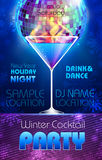 Disco background. Winter Cocktail poster Royalty Free Stock Photos