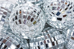 Disco ball. Shiny silver glass disco ball Stock Photo