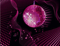 Disco ball. Vector background with disco ball and notes royalty free illustration