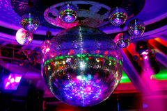 Disco ball. In the club on the ceiling Institutions stock photos