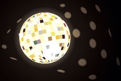 Disco ball. Background for your use and needs with an illustration of a disco ball and sparkling reflection spots Stock Photo