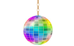 Disco ball. Multi-coloured 3D-ball with a gold chain on a white background. The disco-ball refracts and reflects rays of light. It can be seen both in club, and Royalty Free Stock Images