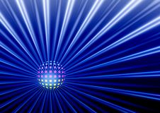 Disco ball. Music background - disco ball in blue color Royalty Free Illustration