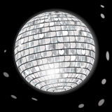 Disco Ball. Glowing Retro Disco Ball in Night Club on Dark Background vector illustration