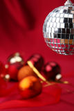 Disco ball. On christmas background Royalty Free Stock Photo