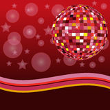 Disco ball. Red disco ball with stars Royalty Free Stock Photography