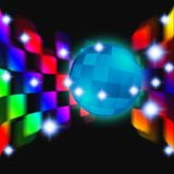 Disco ball. Rotating around a fun dance party dance lights reflected Stock Photography