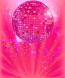 Disco ball. On the pink background Stock Photos