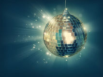 Disco ball. On green background royalty free stock photography