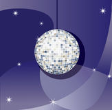 Disco ball. Vector Mirror sparkling disco ball on a blue background royalty free illustration