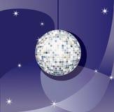 Disco ball. Vector Mirror sparkling disco ball on a blue background Stock Photo