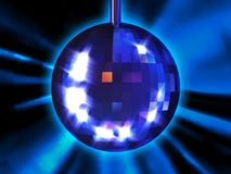 Disco ball. 3d illustration of disco ball on blue background Stock Photos