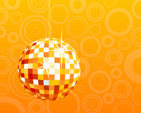 Disco ball. On orange circle background Royalty Free Stock Photography