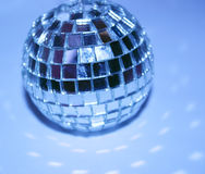 Disco ball. Blue lit disco ball Stock Photography