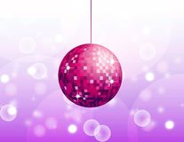 Disco ball. Abstract pink vector illustration with bokeh elements and shiny disco ball Stock Photo
