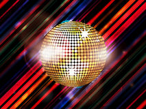 Disco ball on abstract striped background Royalty Free Stock Photography