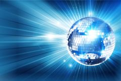 Disco Ball Background. Shiny Blue Disco Ball Background. Great Eye Catche Disco Background for Your Event. 3D Rendered Illustration with Copy Space Royalty Free Stock Photos