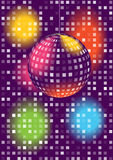 Disco ball background. Color retro disco ball background royalty free illustration