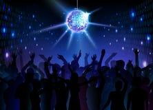Disco ball background. Dancing people. Neon Disco ball background. Dancing people Royalty Free Illustration