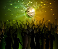 Disco ball background. Dancing people. Neon Disco ball background. Dancing people Stock Photography