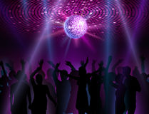 Disco ball background. Dancing people Royalty Free Stock Photo
