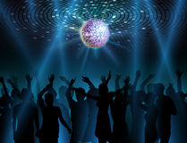 Disco ball background. Dancing people Royalty Free Stock Images