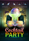 Disco ball background. Disco cocktail party poster Stock Image