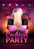 Disco ball background. Disco cocktail party poster Royalty Free Stock Images
