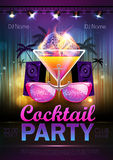 Disco ball background. Disco cocktail party poster. Disco ball background. Disco cocktail party Royalty Free Stock Images