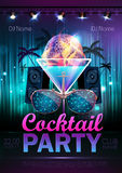 Disco ball background. Disco cocktail party poster Stock Images