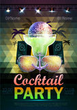 Disco ball background. Disco cocktail party poster on triangle b Stock Photo