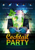 Disco ball background. Disco cocktail party poster on triangle b Stock Photography