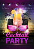 Disco ball background. Disco cocktail party poster on triangle b Stock Photos