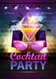 Disco ball background. Disco cocktail party poster on triangle b Royalty Free Stock Photography