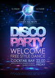Disco ball background. Disco party poster. Neon Stock Images