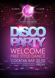 Disco ball background. Disco party poster. Neon Royalty Free Stock Images