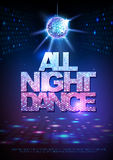 Disco ball background. Disco poster all night dance. Neon. Disco ball background. Disco poster all night dance Stock Photo