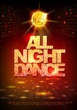 Disco ball background. Disco poster all night dance. Neon Royalty Free Stock Image