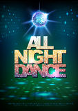 Disco ball background. Disco poster all night dance. Neon Royalty Free Stock Photo