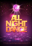 Disco ball background. Disco poster all night dance. Neon Stock Photo