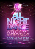 Disco ball background. Disco poster all night dance. Neon Royalty Free Stock Images