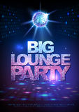 Disco ball background. Disco poster big lounge party. Neon Royalty Free Stock Photography