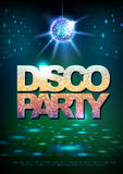 Disco ball background. Disco poster big lounge party. Neon Stock Photography