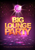 Disco ball background. Disco poster big lounge party. Neon Royalty Free Stock Images