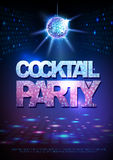 Disco ball background. Disco poster cocktail party. Neon Royalty Free Stock Images